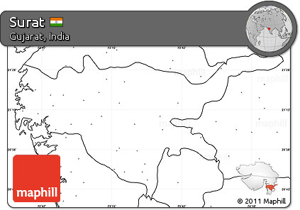 Free Blank Simple Map of Surat, no labels