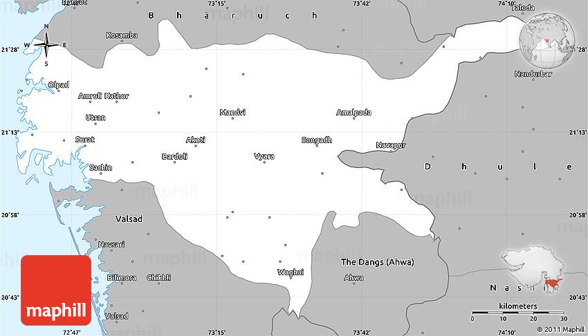 Gray Simple Map of Surat