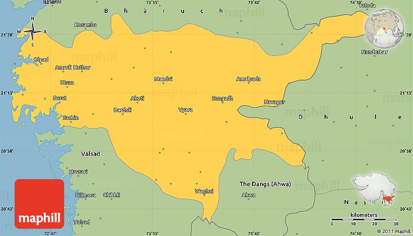Savanna Style Simple Map of Surat