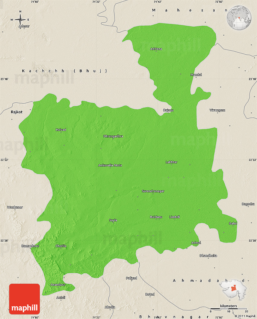 Surendranagar India  city images : Political Map of Surendranagar, shaded relief outside