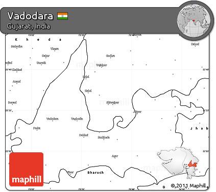Free Blank Simple Map of Vadodara