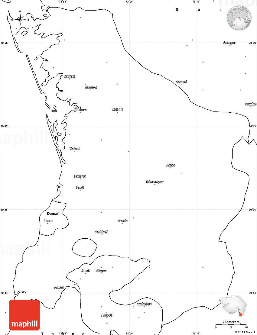 Blank Simple Map of Valsad