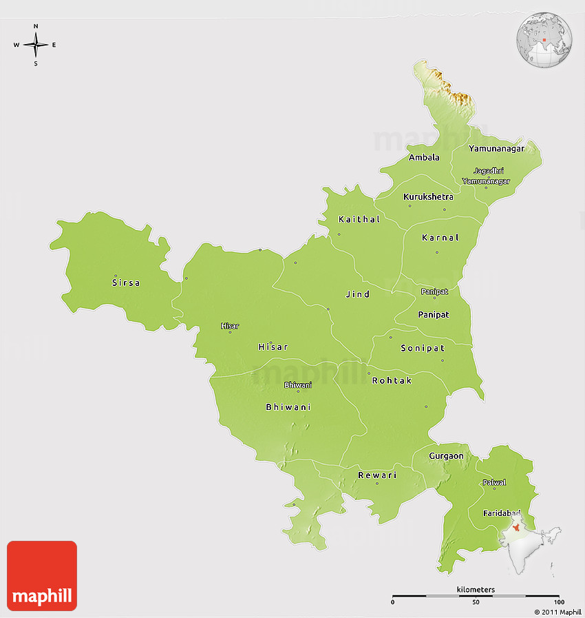 Physical 3D Map of Haryana, cropped outside