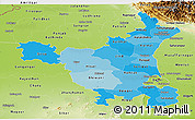 Political Shades Panoramic Map of Haryana, physical outside