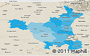 Political Shades Panoramic Map of Haryana, shaded relief outside