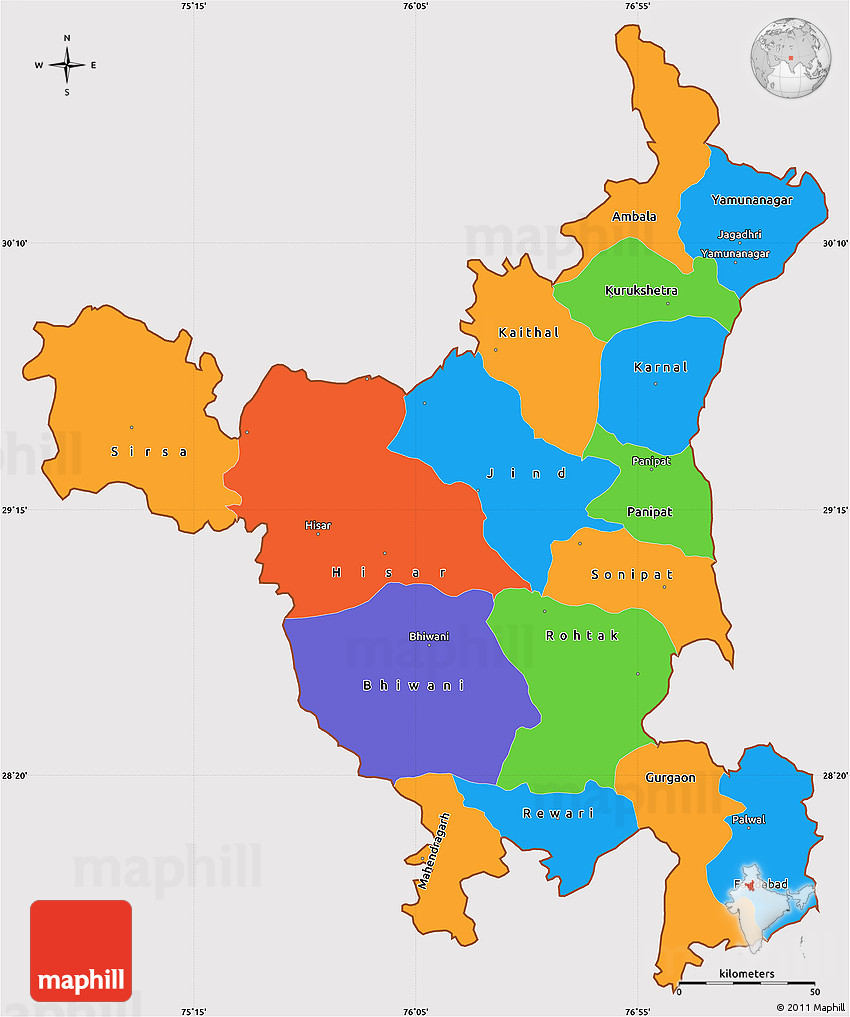 Haryana India Map.Political Simple Map Of Haryana Cropped Outside