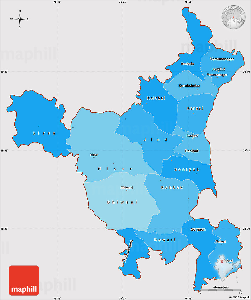 Political shades simple map of haryana cropped outside gumiabroncs Choice Image