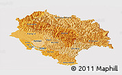 Political Shades Panoramic Map of Himachal Pradesh, cropped outside