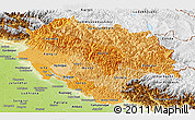 Political Shades Panoramic Map of Himachal Pradesh, physical outside