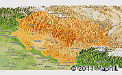 Political Shades Panoramic Map of Himachal Pradesh, satellite outside