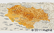 Political Shades Panoramic Map of Himachal Pradesh, shaded relief outside