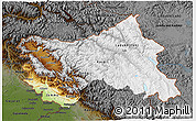 Physical 3D Map of Jammu and Kashmir, darken