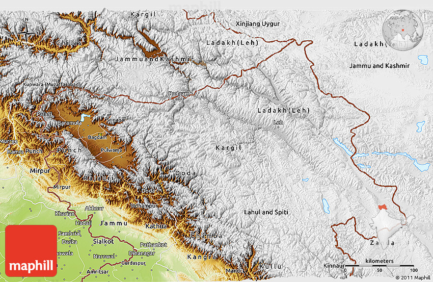 Physical 3D Map of Jammu and Kashmir