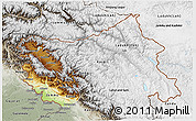 Physical 3D Map of Jammu and Kashmir, semi-desaturated