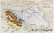 Physical 3D Map of Jammu and Kashmir, shaded relief outside