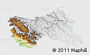 Physical 3D Map of Jammu and Kashmir, single color outside