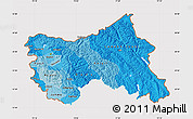 Political Shades Map of Jammu and Kashmir, cropped outside