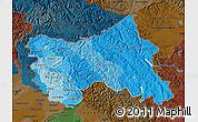 Political Shades Map of Jammu and Kashmir, darken