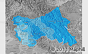 Political Shades Map of Jammu and Kashmir, desaturated