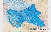 Political Shades Map of Jammu and Kashmir, lighten