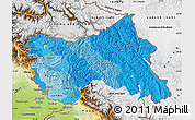Political Shades Map of Jammu and Kashmir, physical outside
