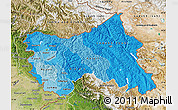 Political Shades Map of Jammu and Kashmir, satellite outside