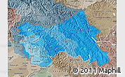 Political Shades Map of Jammu and Kashmir, semi-desaturated