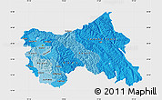 Political Shades Map of Jammu and Kashmir, single color outside