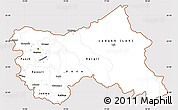 Classic Style Simple Map of Jammu and Kashmir, cropped outside