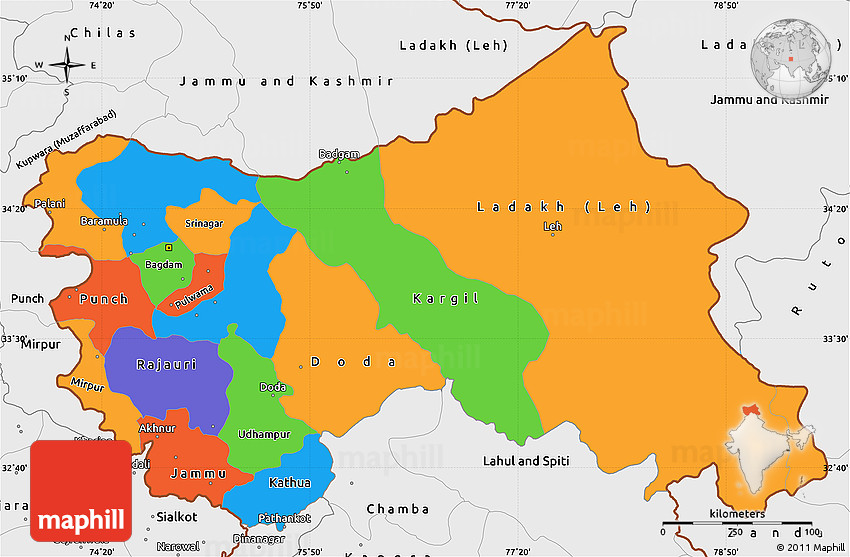 Political Simple Map of Jammu and Kashmir, single color outside ...