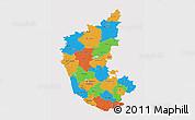 Political 3D Map of Karnataka, cropped outside