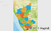Political 3D Map of Karnataka, physical outside