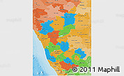 Political 3D Map of Karnataka, political shades outside