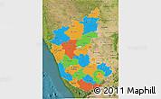 Political 3D Map of Karnataka, satellite outside