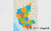 Political 3D Map of Karnataka, shaded relief outside