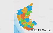 Political 3D Map of Karnataka, single color outside