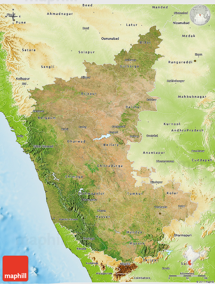 Image result for map for Mountains in karnataka