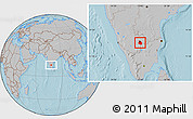 Gray Location Map of Bangalore Urban, hill shading