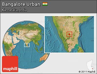 Satellite Location Map of Bangalore Urban