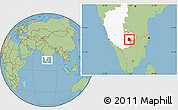 Savanna Style Location Map of Bangalore Urban, highlighted parent region