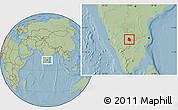 Savanna Style Location Map of Bangalore Urban, hill shading
