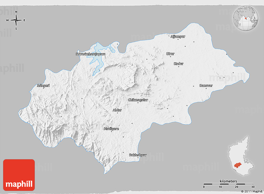 Gray D Map Of Chikmagalur Single Color Outside - Chikmagalur map