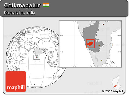 Free Blank Location Map Of Chikmagalur Highlighted Country - Chikmagalur map