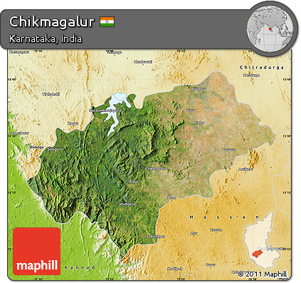Free Satellite Map Of Chikmagalur Physical Outside - Chikmagalur map