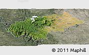 Satellite Panoramic Map of Chikmagalur, semi-desaturated
