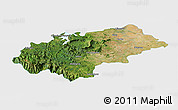 Satellite Panoramic Map of Chikmagalur, single color outside
