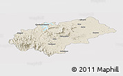 Shaded Relief Panoramic Map of Chikmagalur, cropped outside