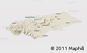 Shaded Relief Panoramic Map of Chikmagalur, single color outside