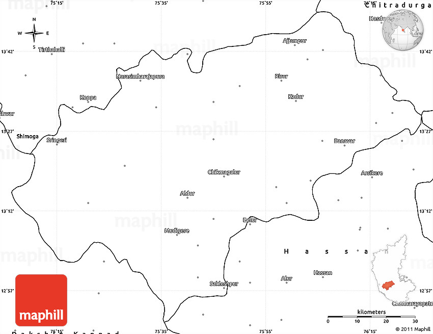Blank Simple Map Of Chikmagalur - Chikmagalur map