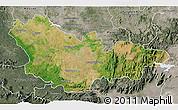 Satellite 3D Map of Mysore, semi-desaturated
